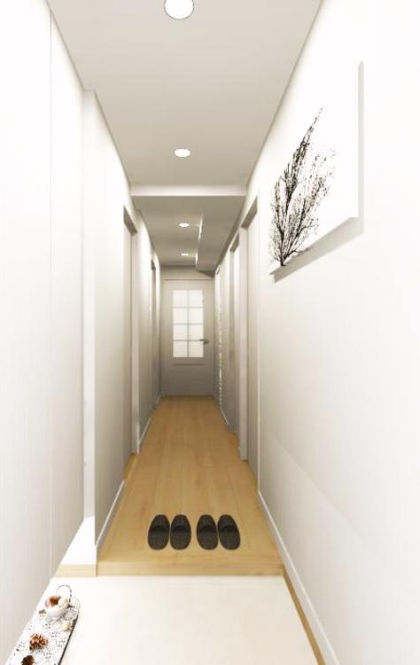 フロート仕様の間接照明が幻想的な雰囲気を作りだす、明るく清潔感のある玄関