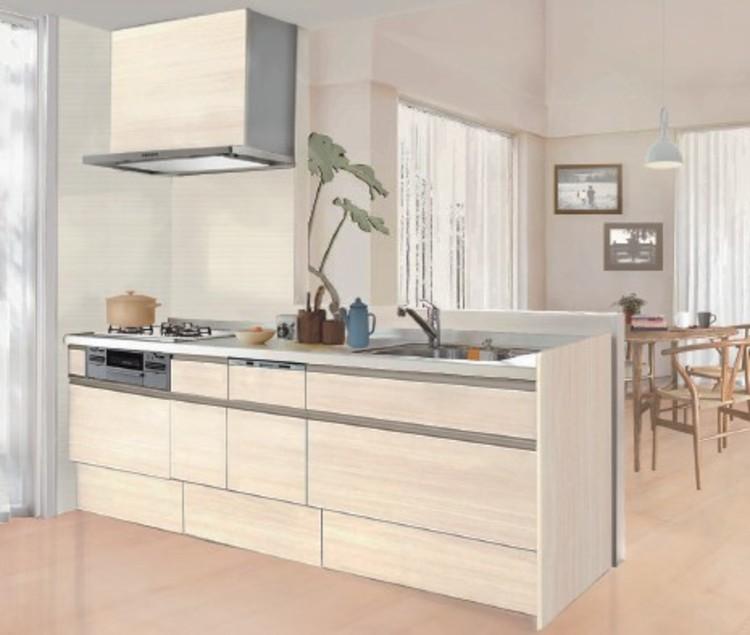 お料理しながらリビングを見渡せる対面式キッチン。家事と子育ての両立ができます