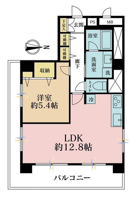 1LDK、価格6280万円、専有面積47.1m2、バルコニー面積15.66m2