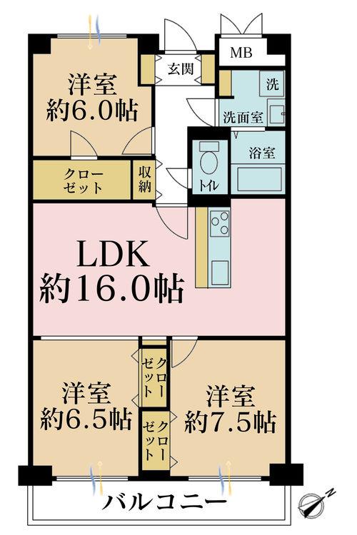3LDK、価格6490万円、専有面積80.4m2、バルコニー面積9.38m2
