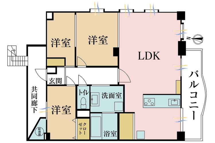 2LDK、価格6980万円、専有面積108.6m2、バルコニー面積10.67m2