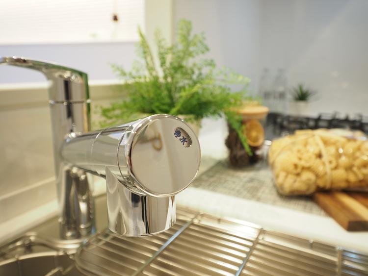 ボタンひとつで浄水と原水に切り替えられる浄水器一体型水洗を使用。