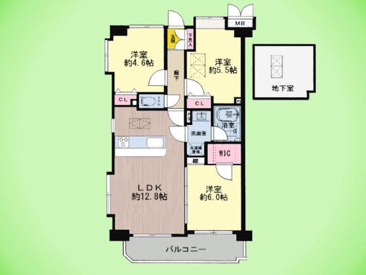 3LDK、専有面積71.23平米、バルコニー面積7.04平米