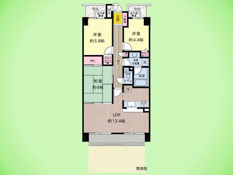 3LDK、専有面積66.75平米、テラス面積9.60平米
