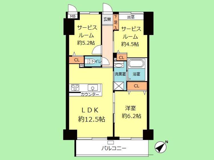 1LDK+2S 専有面積61.74平米、バルコニー面積7.34平米