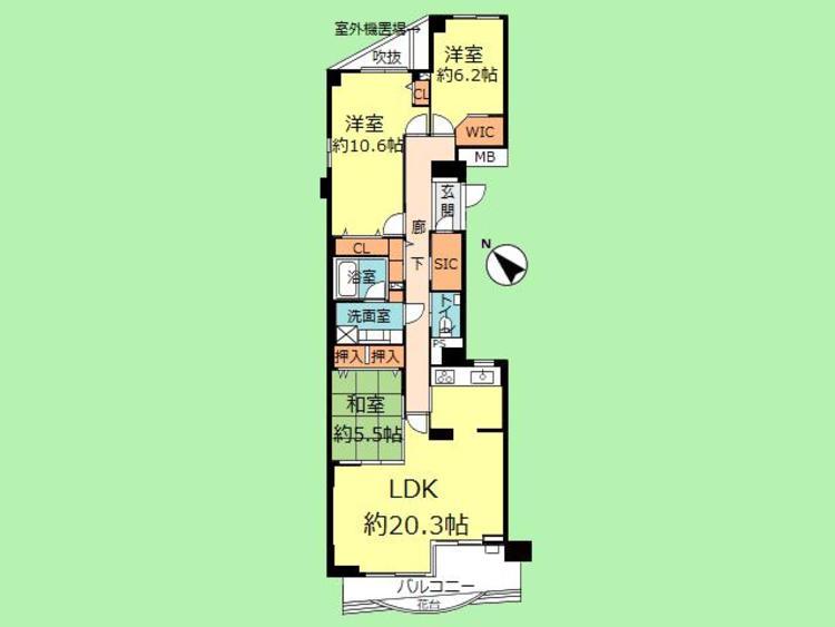 3LDK 専有面積104.09平米、バルコニー面積9.54平米