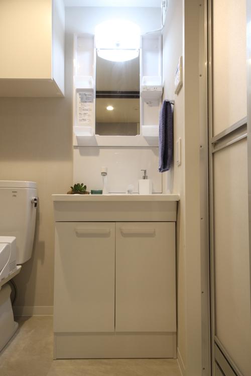 洗面台とトイレを1つの空間にまとめています