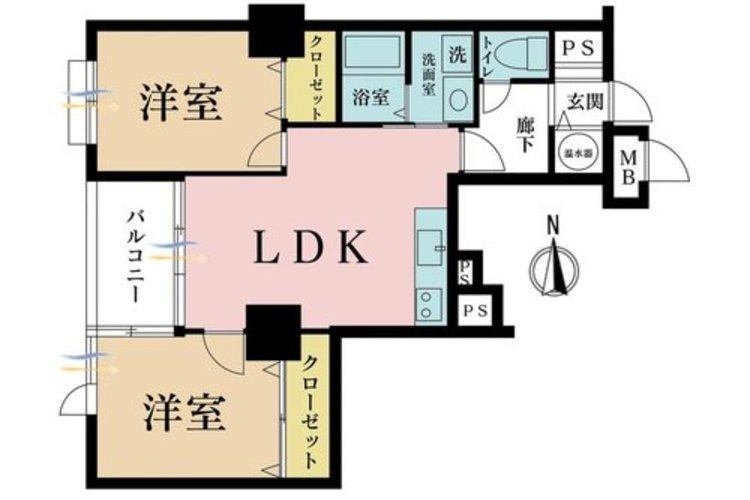 2LDK、価格3199万円、専有面積52.24m2、バルコニー面積5.08m2