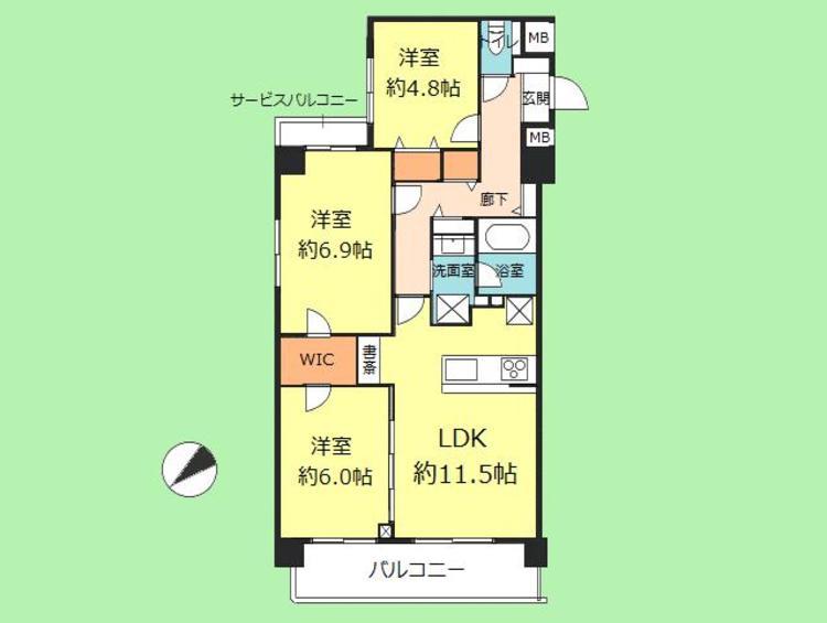 3LDK 専有面積75.26平米、バルコニー面積10.88平米
