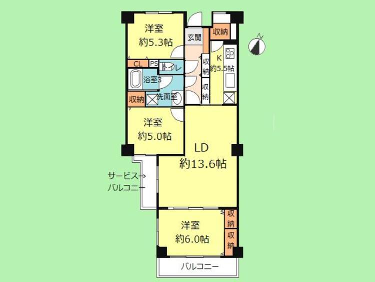 3LDK 専有面積76.55平米 バルコニー面積6.97平米
