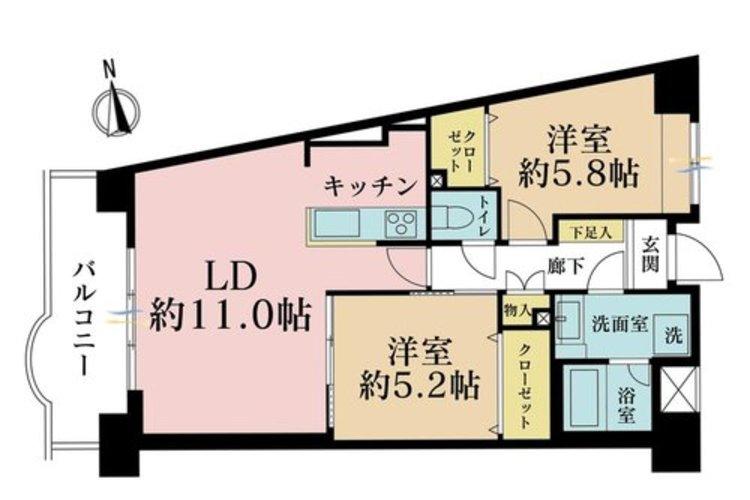 2LDK、価格3500万円、専有面積60.26m2、バルコニー面積8.08m2
