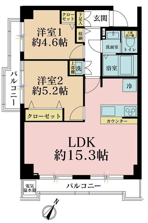 2LDK、価格2598万円、専有面積55.12m2