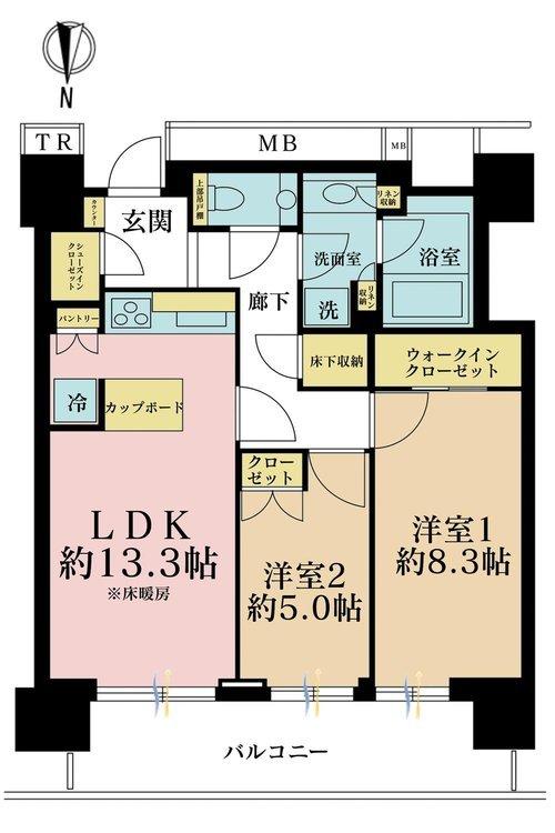 2LDK、価格6380万円、専有面積68.42m2、バルコニー面積11.73m2