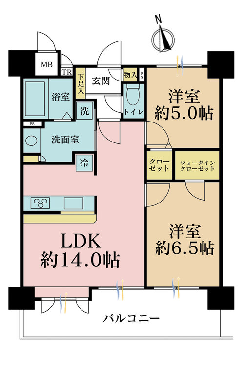 2LDK、価格4180万円、専有面積58.2m2、バルコニー面積13.86m2
