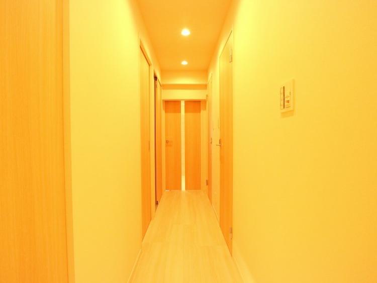 玄関を開けると、明るい日が差し込むリビングへと誘う廊下。住まいの顔となる玄関は、落ち着きと華やぎの満ちた空間に。