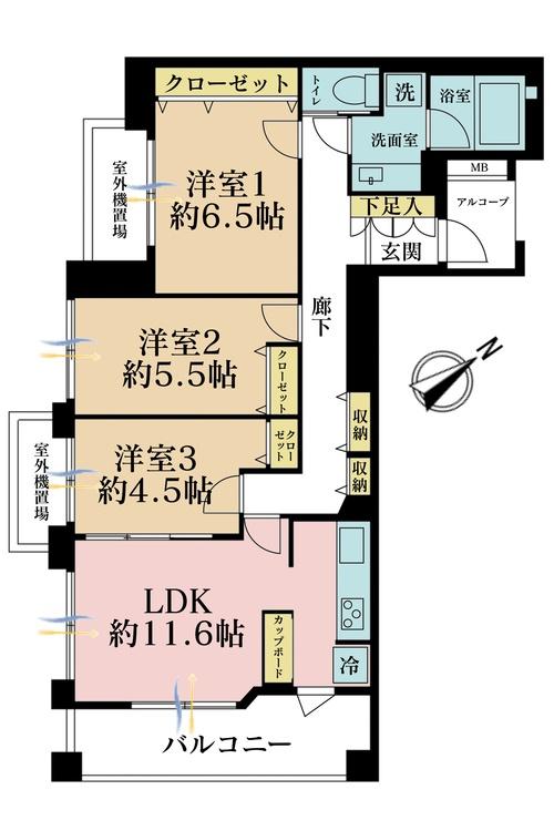 3LDK、価格4780万円、専有面積72.27m2、バルコニー面積9.16m2