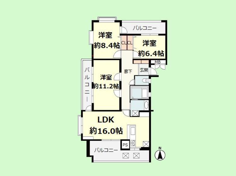 3LDK 専有面積94.42平米、バルコニー面積27.60平米