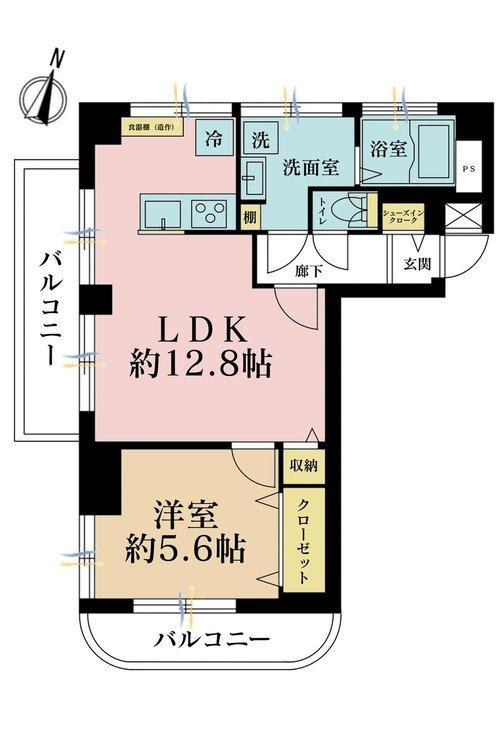 1LDK、価格2699万円、専有面積46.58m2、バルコニー面積7.66m2