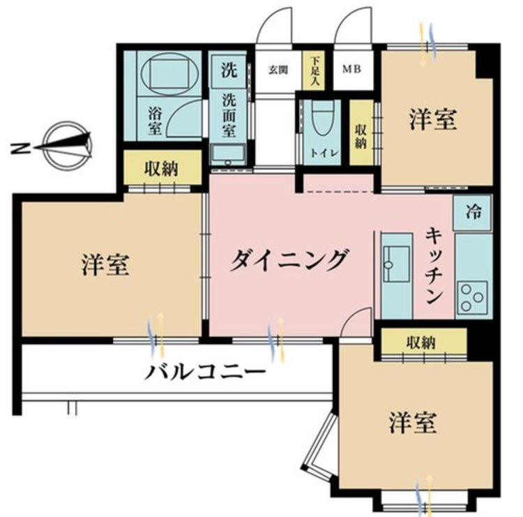 3DK、価格3990万円、専有面積51.68m2、バルコニー面積5.9m2