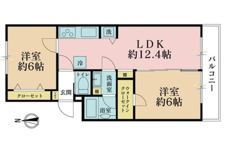 2LDK、価格2180万円、専有面積47m2、バルコニー面積5m2