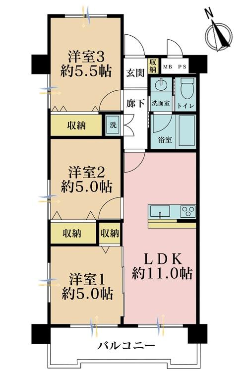 3LDK、価格2799万円、専有面積59.42m2、バルコニー面積7.68m2