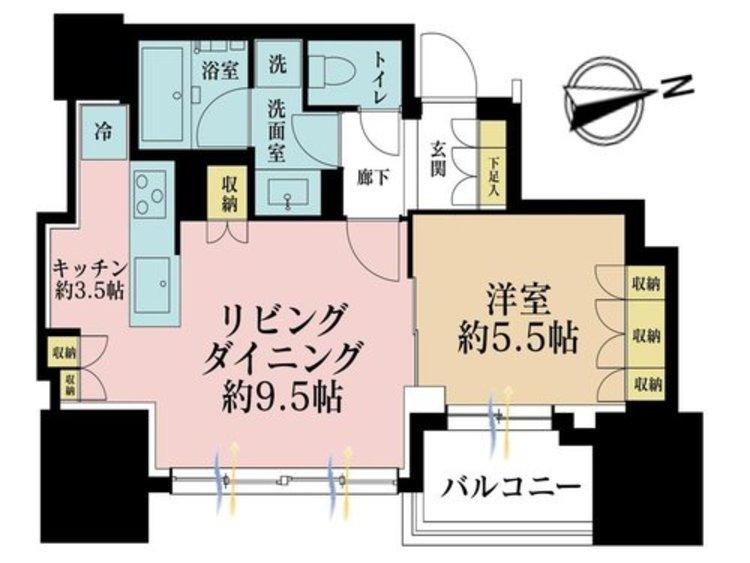 1LDK、価格6180万円、専有面積44.51m2、バルコニー面積5.45m2