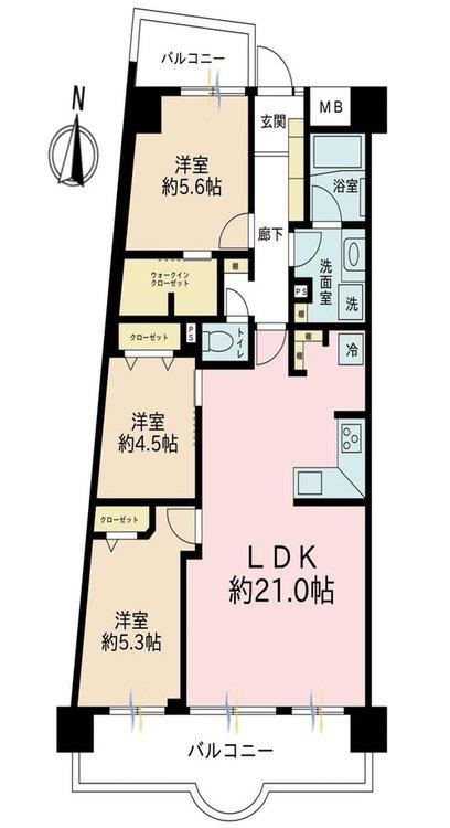 3LDK、価格4148万円、専有面積78.14m2、バルコニー面積15.89m2