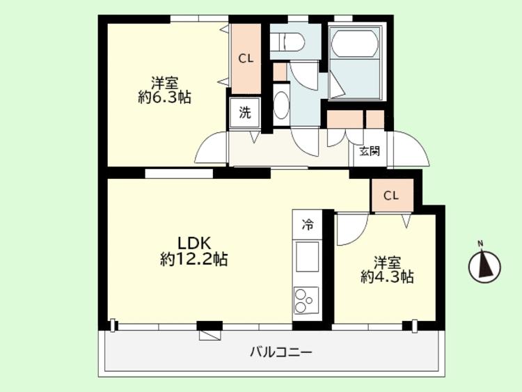 2LDK 専有面積49.70平米、バルコニー面積7.7平米