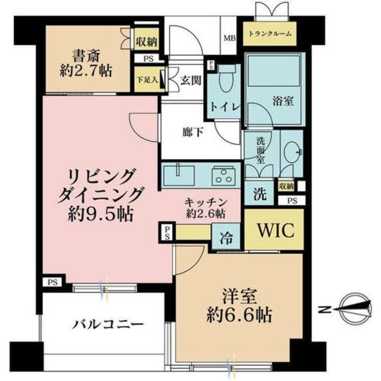 1LDK+S(納戸)、価格8190万円、専有面積51.12m2、バルコニー面積6.5m2