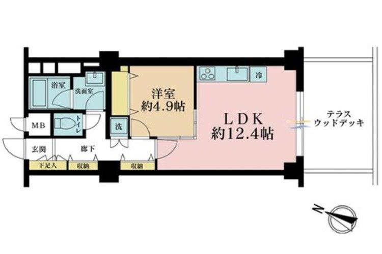 1LDK、価格4350万円、専有面積49.5m2