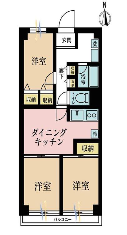 3DK、価格3380万円、専有面積69.2m2、バルコニー面積8.1m2