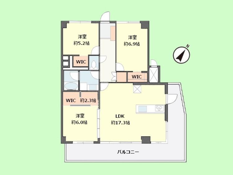 3LDK 専有面積80.40平米、バルコニー面積21.24平米