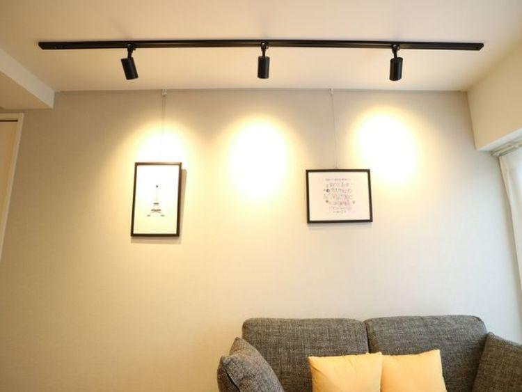 オシャレに飾るレール式の照明器具も付いています。自分好みにライトの位置を変えましょう。