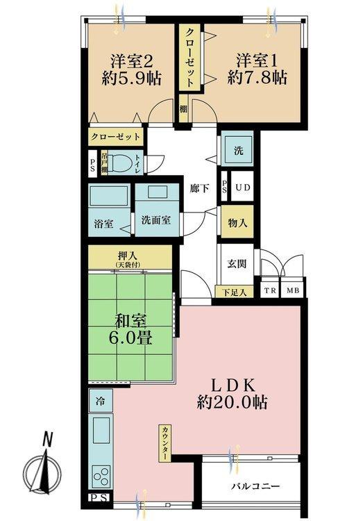 3LDK、価格5980万円、専有面積95.07m2、バルコニー面積5.1m2