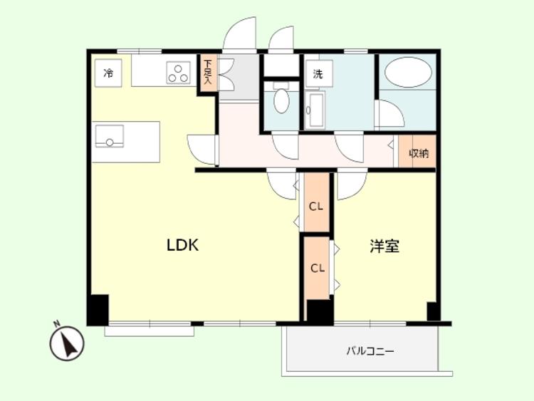 1LDK 専有面積51.03平米、バルコニー面積4.2平米