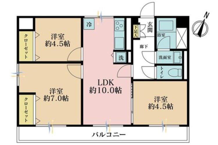 3LDK、価格2880万円、専有面積56.23m2、バルコニー面積11m2