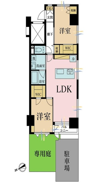 2LDK、価格5280万円、専有面積62.53m2、バルコニー面積2.45m2