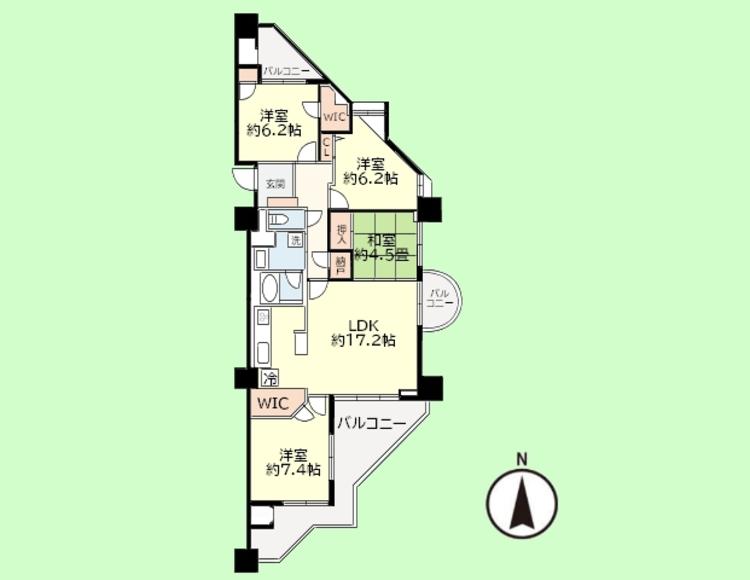 4SLDK  専有面積92.38平米、バルコニー面積26.09平米
