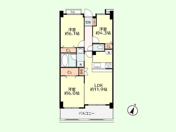 3LDK 専有面積60.61平米、バルコニー面積8.60平米
