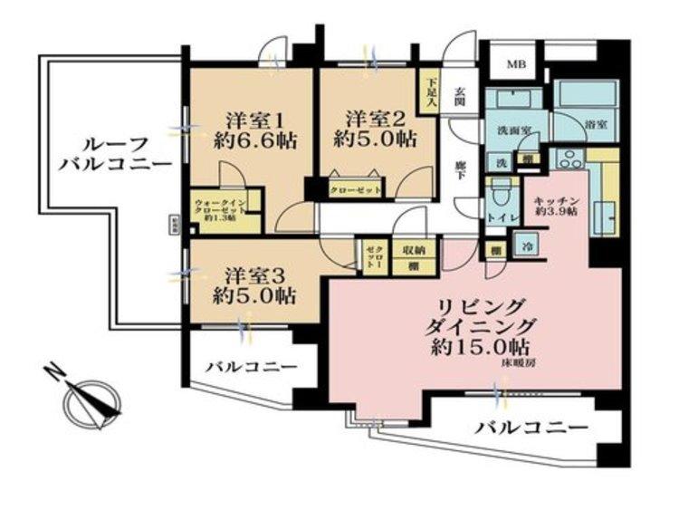 3LDK、価格8980万円、専有面積79.18m2、バルコニー面積7.25m2