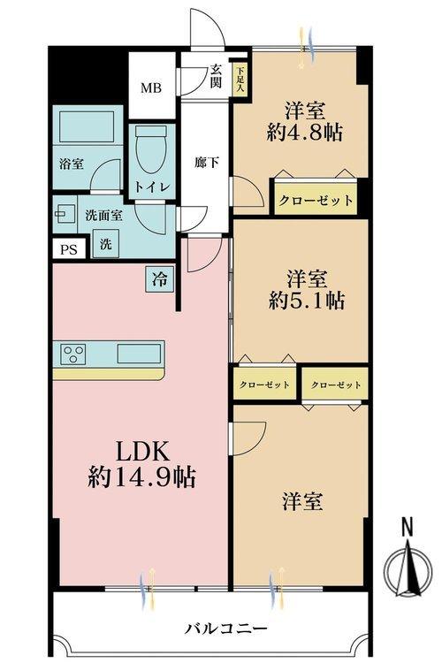 3LDK、価格6299万円、専有面積71.5m2、バルコニー面積9.15m2