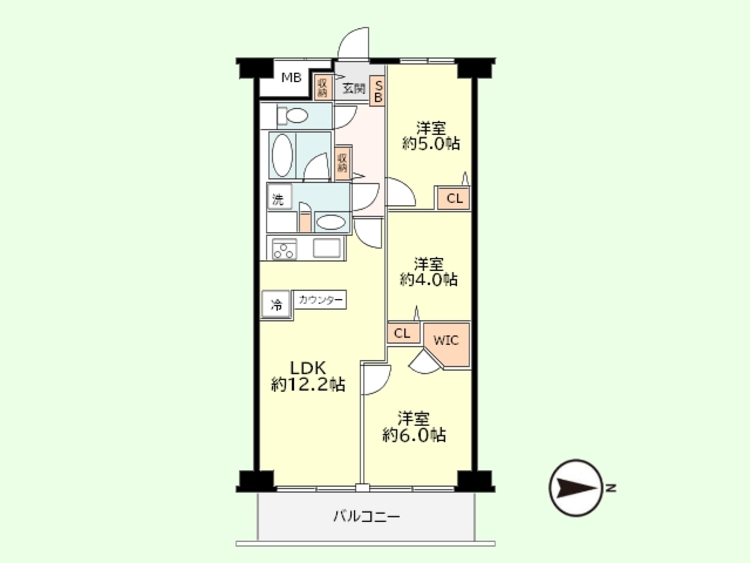 3LDK 専有面積61.60平米、バルコニー面積7.84平米