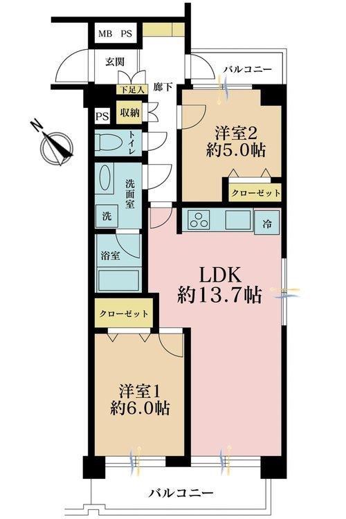 2LDK、価格3848万円、専有面積61.64m2、バルコニー面積8.35m2