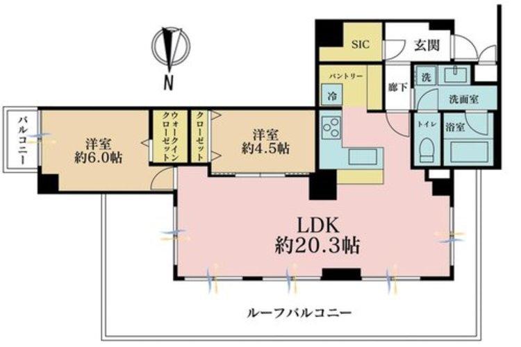 2LDK、価格6980万円、専有面積74.32m2、バルコニー面積2.35m2
