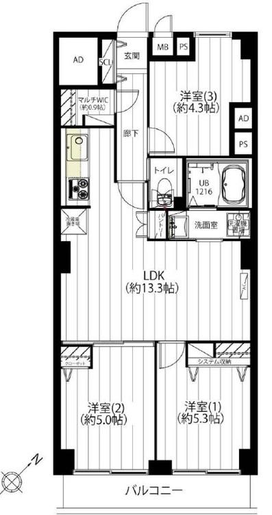 洋室2部屋が南向きのバルコニーに面しているので、日当たり良好です(^^)/