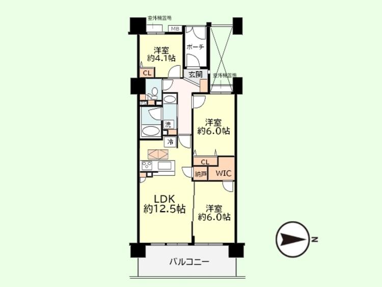 3SLDK 専有面積64.74平米、バルコニー面積11.7平米