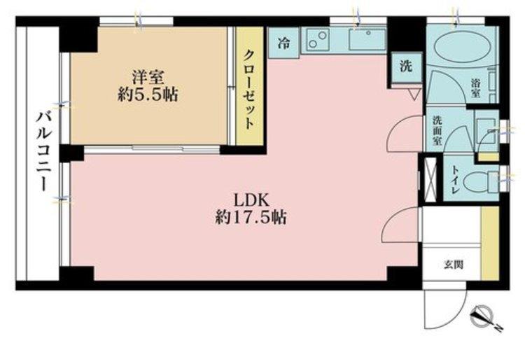 1LDK、価格3680万円、専有面積47.17m2