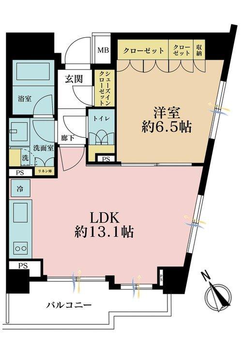 1LDK、価格6880万円、専有面積46.76m2、バルコニー面積4.71m2