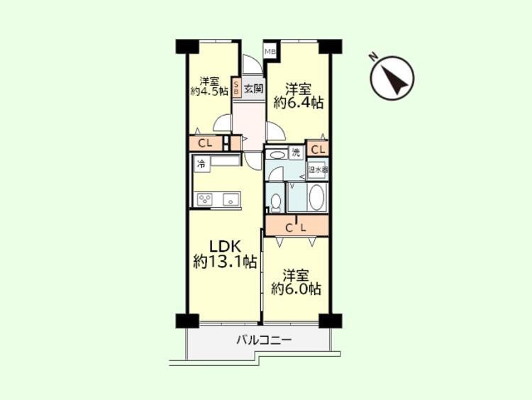 3LDK 専有面積65.32平米、バルコニー面積7.80平米