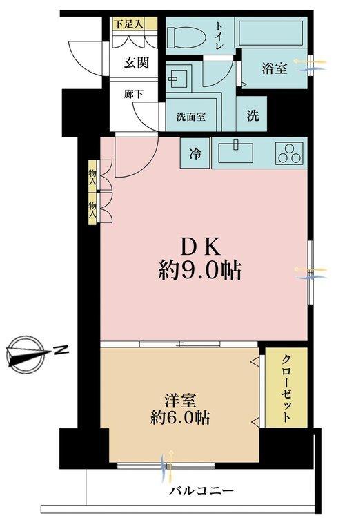 1DK、価格3980万円、専有面積44.24m2、バルコニー面積4m2